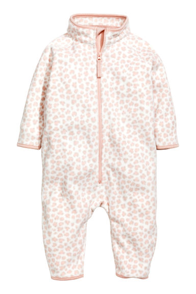 Fleece all-in-one suit - White/Leopard print - Kids | H&M GB