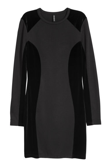 Fitted jersey dress - Black/Velvet -  | H&M