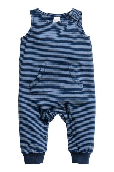 Sleeveless jersey romper - Dark blue -  | H&M GB