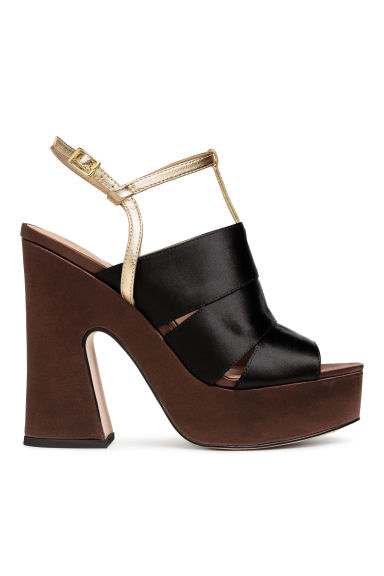 Platform sandals - Black/Gold - Ladies | H&M CN