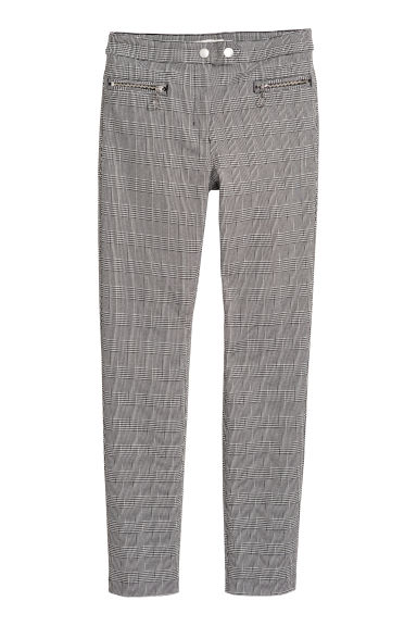Smart stretch trousers - Dogtooth-patterned -  | H&M