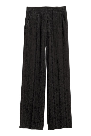Jacquard-weave trousers - Black/Paisley patterned -  | H&M CN