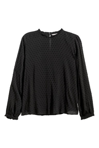 H&M+ Long-sleeved blouse - Black - Ladies | H&M CN