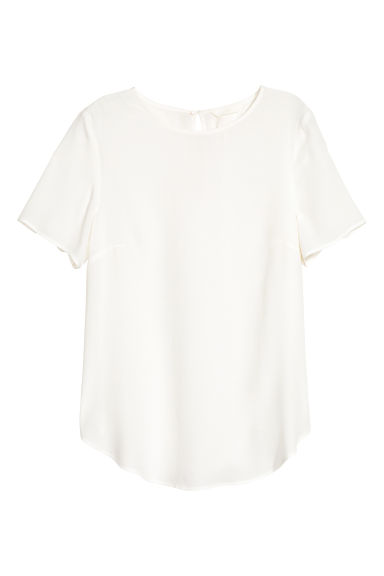 Short-sleeved blouse - White -  | H&M IE