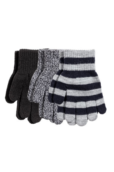 3-pack gloves - Grey/Striped -  | H&M CN