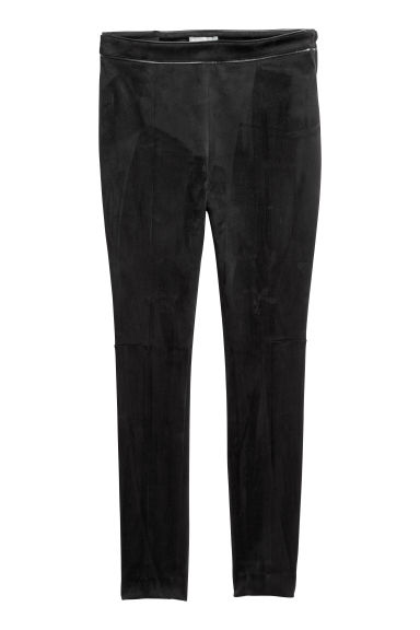 Imitation suede trousers - Black - Ladies | H&M CN
