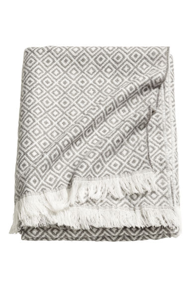Patterned wool-blend blanket - Grey/White - Home All | H&M CN