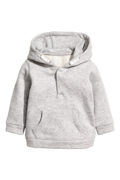 Hooded cotton jacket - Light grey marl - Kids | H&M CN