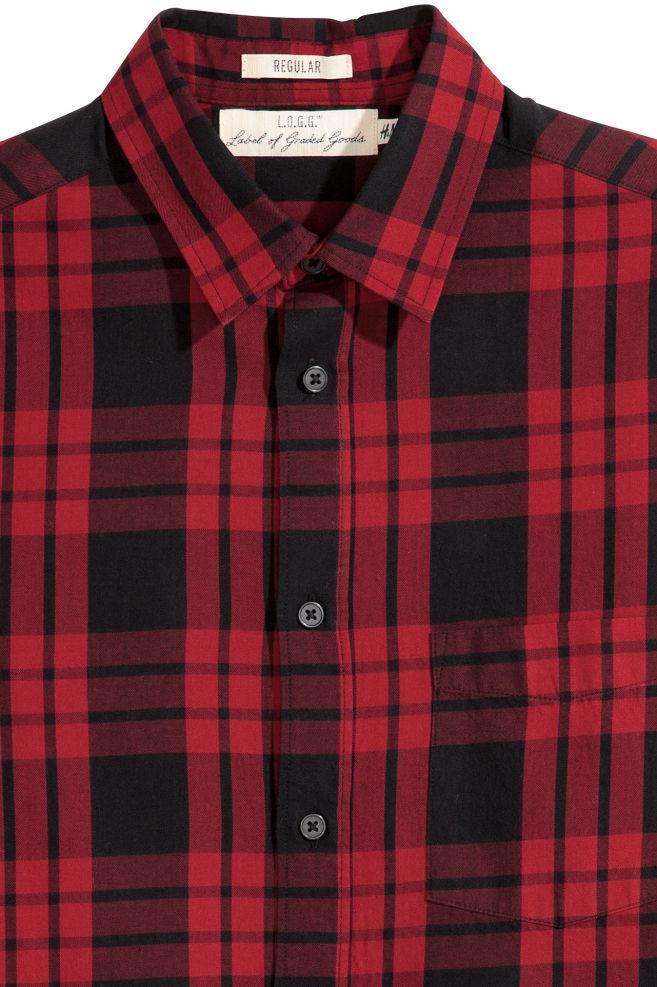 Overhemd Rood Zwart Geblokt.Overhemd Regular Fit Rood Zwart Geruit Heren H M Nl