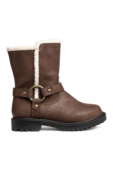Pile-lined boots - Dark brown -  | H&M IE