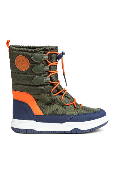 Warm-lined boots - Dark green/Orange - Kids | H&M