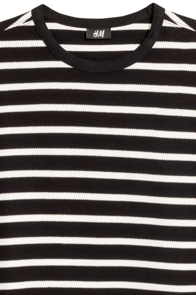 84b71e24581897 ... Cotton piqué T-shirt - Black/White/Striped - Men | H&M GB