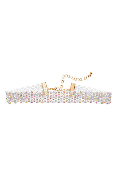 Choker with sparkly stones - White -  | H&M