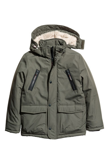 Padded parka with a hood - Dark khaki green -  | H&M GB