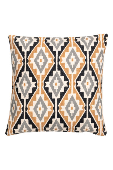 Patterned cushion cover - Yellow/Natural white - Home All | H&M CN