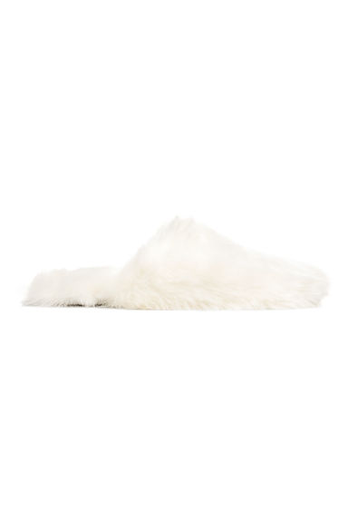 Faux fur slippers - White - Ladies | H&M CN