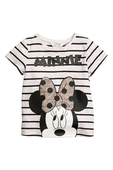 Printed jersey top - Light grey/Minnie Mouse - Kids | H&M CN