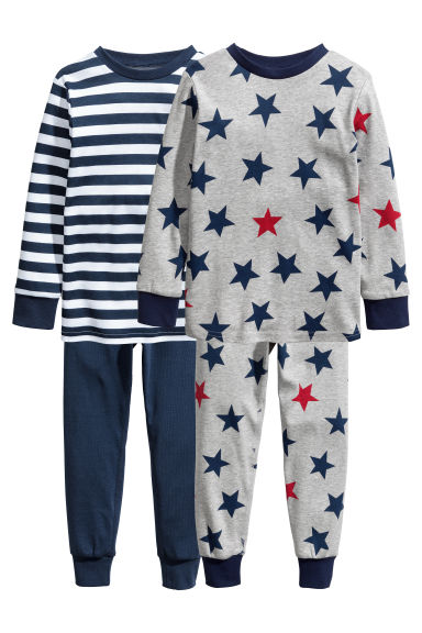 2-pack pyjamas - Grey/Dark blue -  | H&M CN