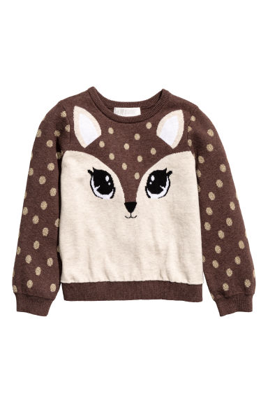 Jacquard-knit jumper - Brown/Roe deer - Kids | H&M IE