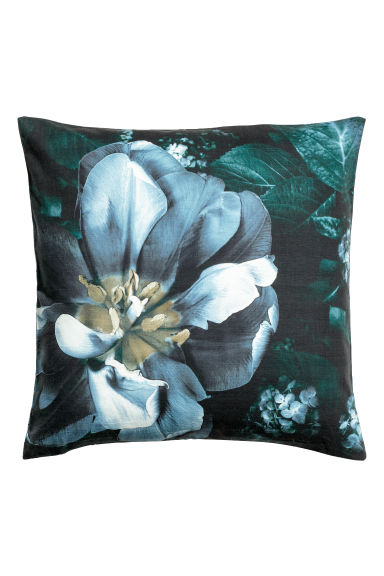 Slub-weave cushion cover - Black/Floral -  | H&M CN