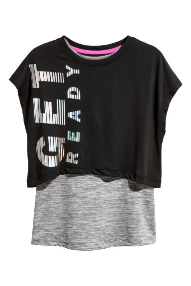 Double-layered sports top - Black/Grey marl - Kids | H&M CN