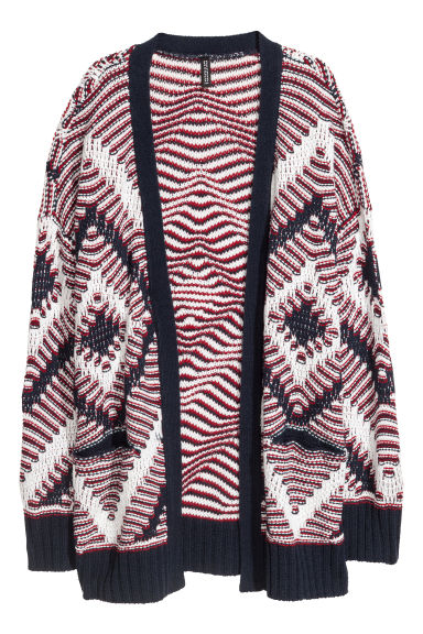 Jacquard-knit cardigan - Red/Dark blue - Ladies | H&M CN