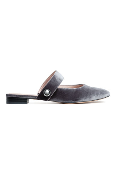 Slip-on velour sandals - Grey - Ladies | H&M GB