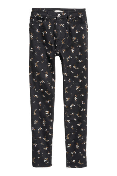 Stretch trousers High waist - Black/Floral -  | H&M