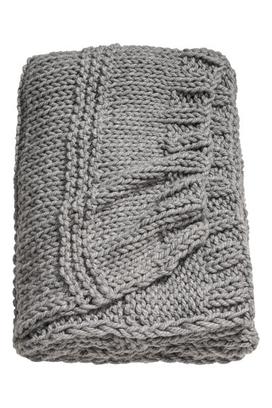 Textured-knit blanket - Grey - Home All | H&M CN