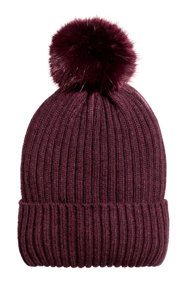 Ribbed hat - Burgundy -  | H&M IE