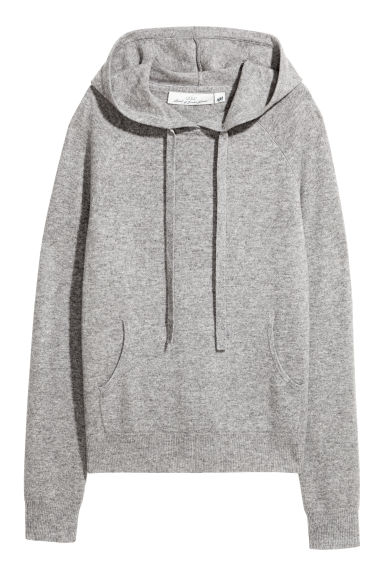 Cashmere-blend hooded top - Grey - Ladies | H&M
