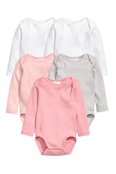 Bodies, lot de 5 - Rose clair/gris clair - ENFANT | H&M BE
