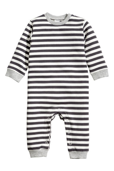 All-in-one suit - Dark grey/White striped -  | H&M