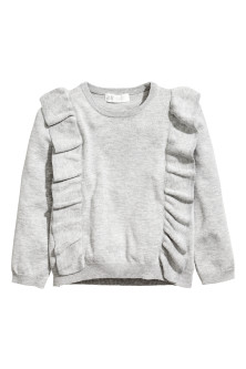 Fine-knit frilled jumper