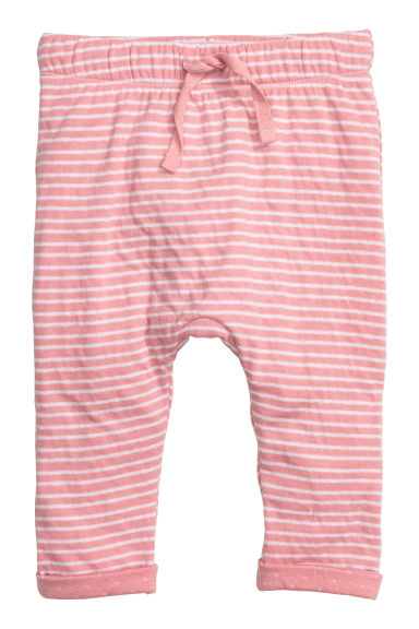 Bonded jersey trousers - Light pink/Striped -  | H&M CN