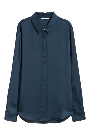 Long-sleeved blouse - Dark blue -  | H&M GB