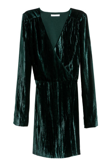 Crushed velvet dress - Dark green -  | H&M