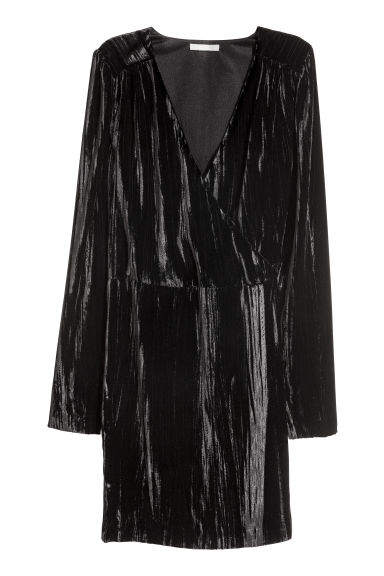 Crushed velvet dress - Black -  | H&M CN