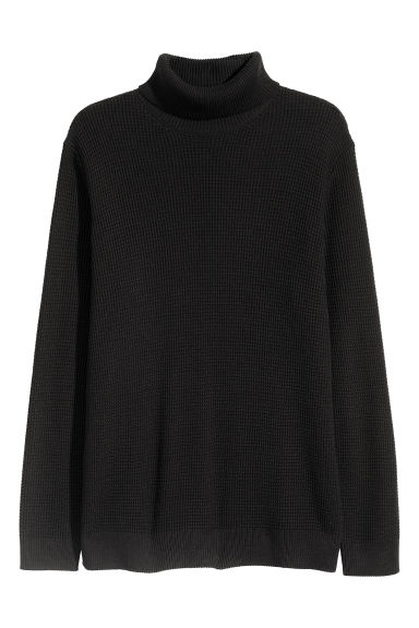 Textured-knit polo-neck - Black -  | H&M CN