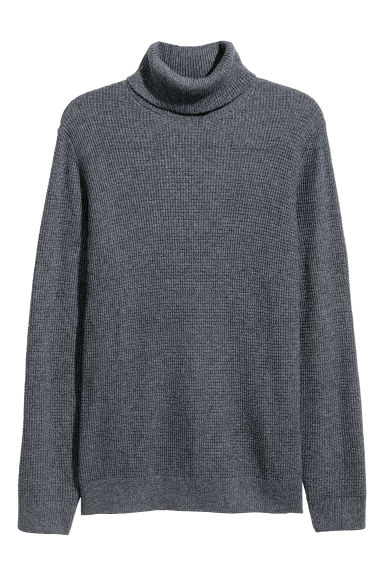 Textured-knit polo-neck - Dark grey marl -  | H&M IE