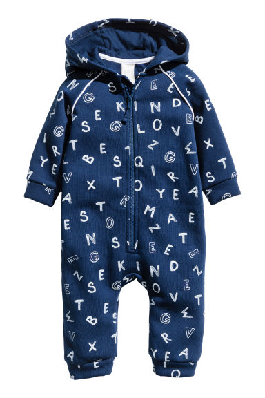 Hooded all-in-one suit - Dark blue -  | H&M