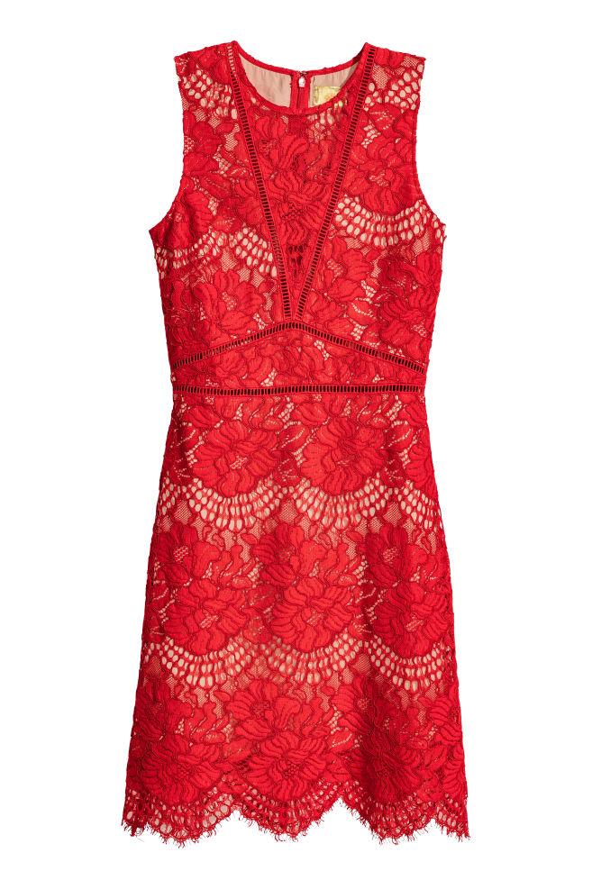 d2403b08038d4a Spitzenkleid - Rot - Ladies | H&M ...