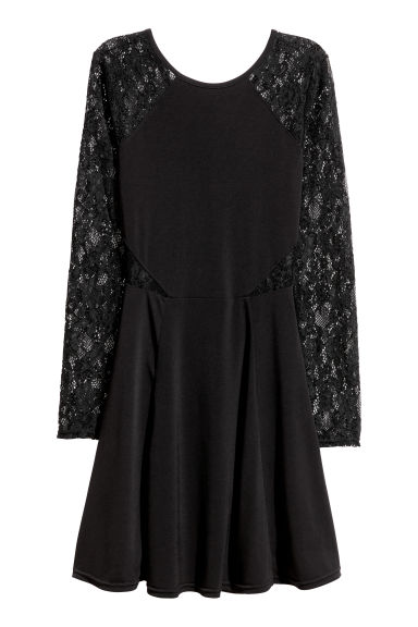 Jersey dress with lace - Black - Ladies | H&M CN