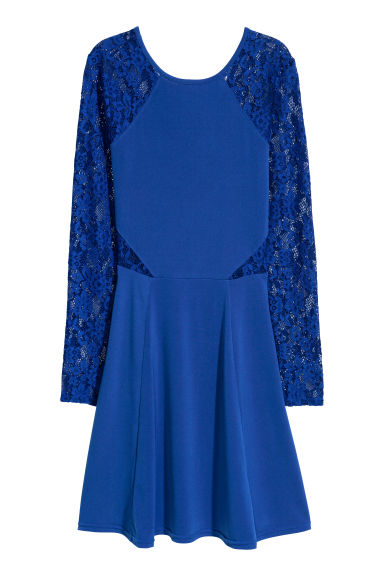 Jersey dress with lace - 亮藍色 - Ladies | H&M