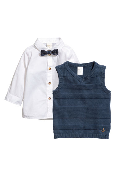 Shirt and slipover - White/Dark blue - Kids | H&M