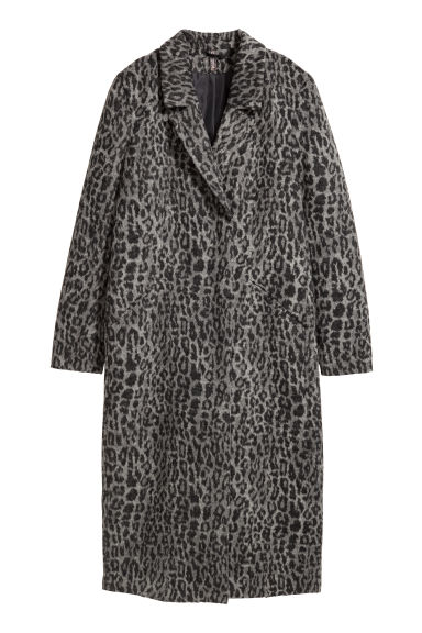 Wool-blend coat - Grey/Leopard -  | H&M CN