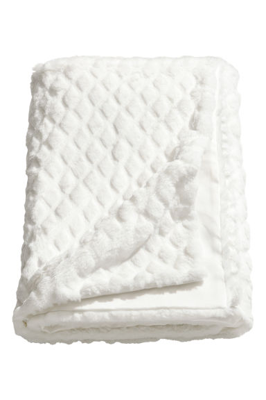 Faux fur blanket - White -  | H&M IE