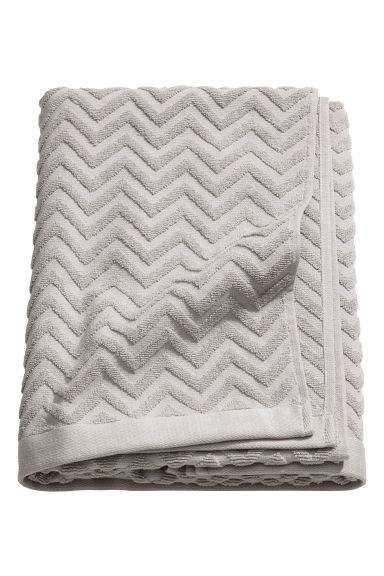 Jacquard-patterned bath towel - Light grey - Home All | H&M GB