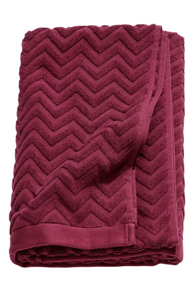 Jacquard-patterned bath towel - Burgundy - Home All | H&M GB