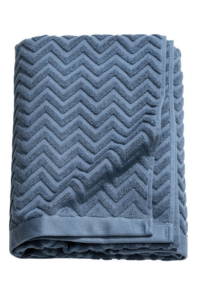 Jacquard-patterned bath towel - Pigeon blue - Home All | H&M GB